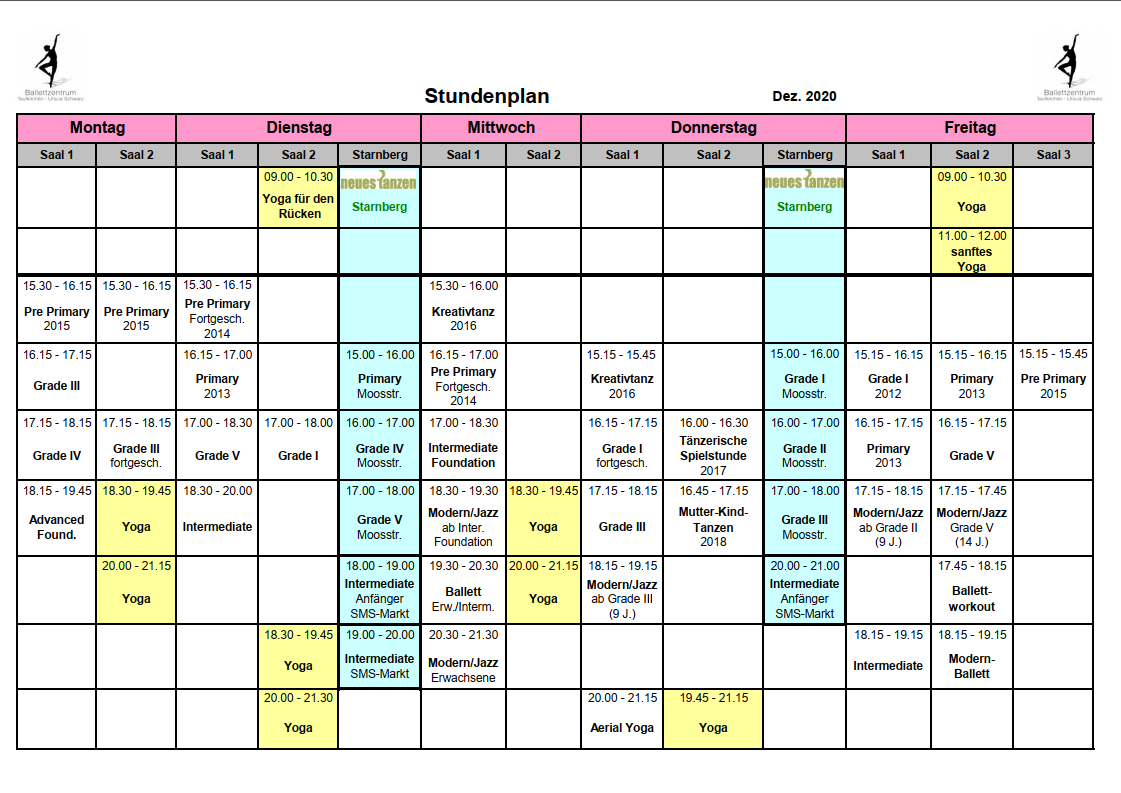 Ballettzentrum Taufkirchen - Stundenplan: Dezember 2020
