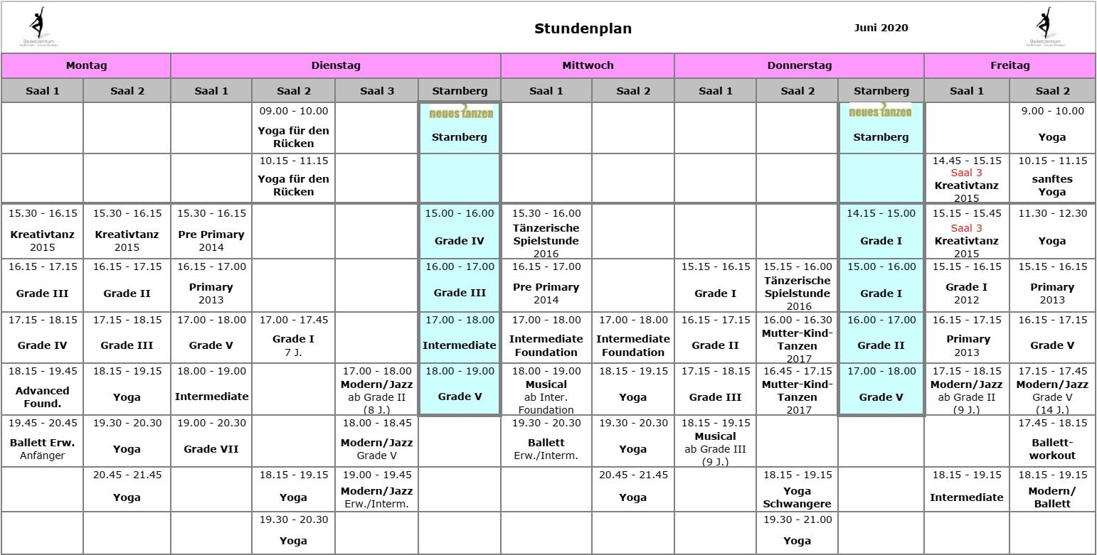 Ballettzentrum Taufkirchen - Stundenplan: Juni 2020