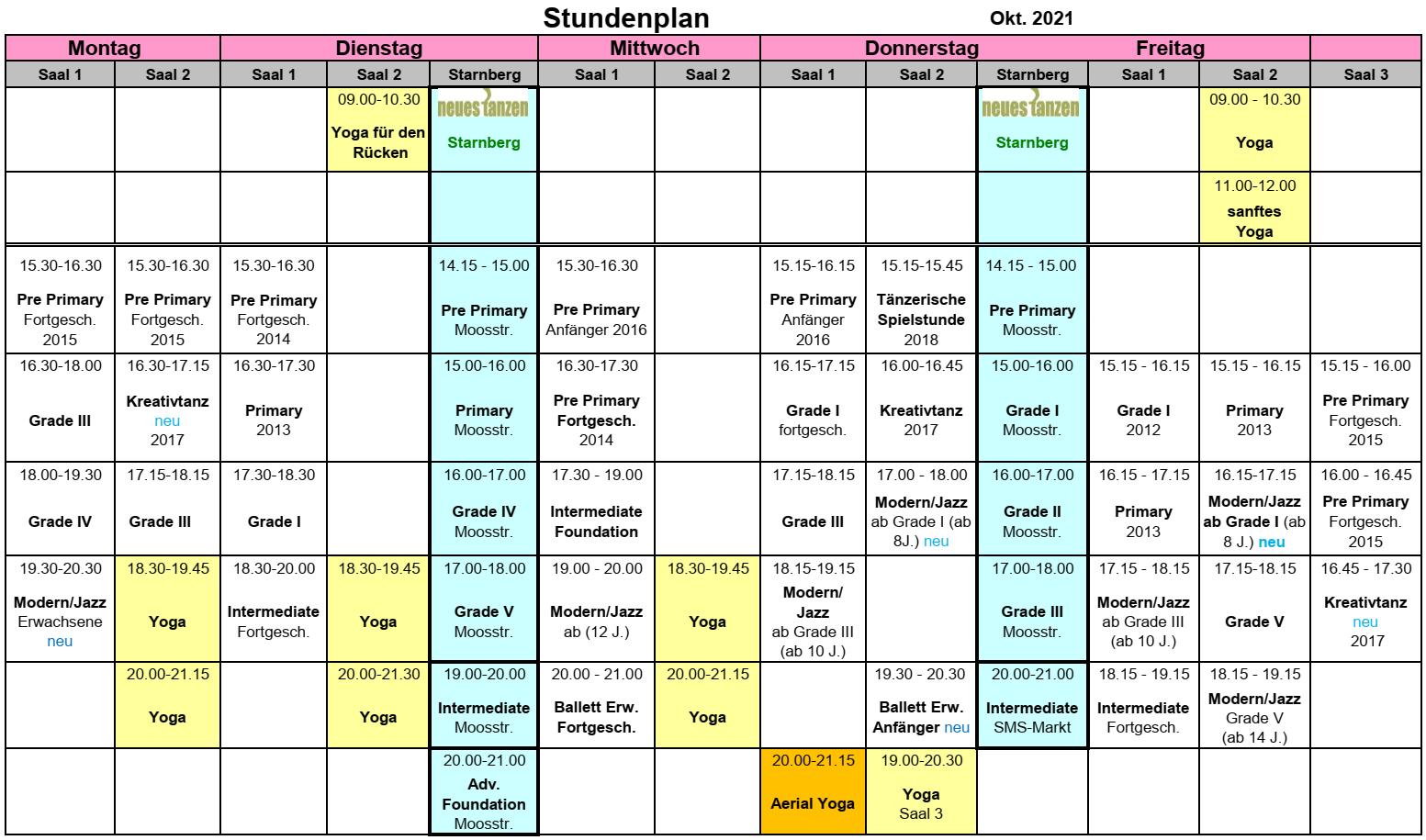 Ballettzentrum Taufkirchen - Stundenplan: Oktober 2021