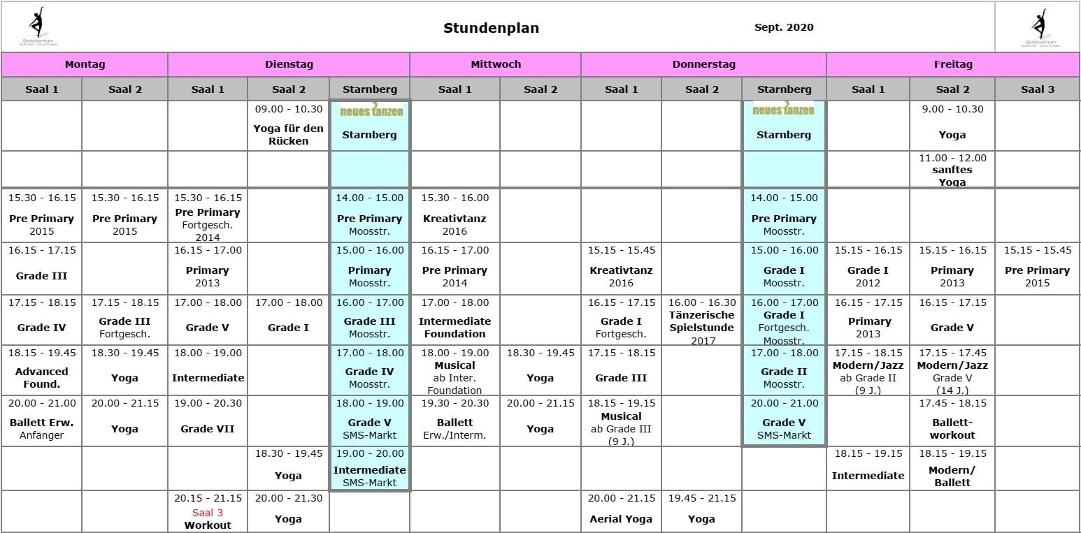 Ballettzentrum Taufkirchen - Stundenplan: September 2020