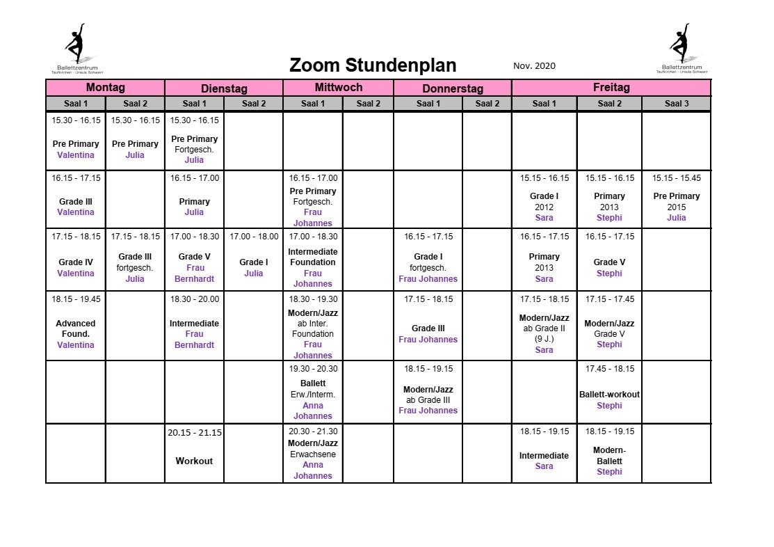 Ballettzentrum Taufkirchen - Stundenplan: November 2020